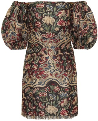 Etro Off-the-shoulder jacquard minidress