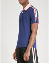 Gucci Logo-trim Slim-fit Stretch-cotton Polo Shirt