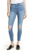 Free People Women's High Rise Busted Knee Skinny Jeans