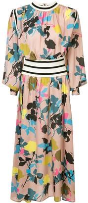 MSGM Contrast Trim Floral-Pint Dress