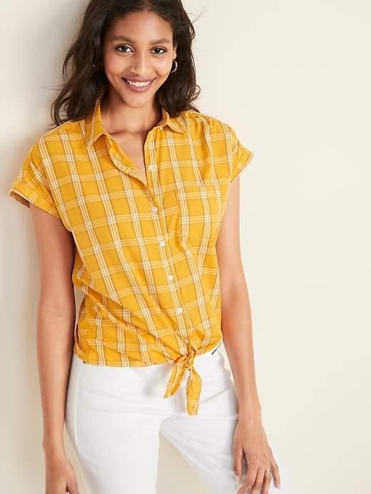 cbeef3941 Women's Yellow Plaid Shirt - ShopStyle