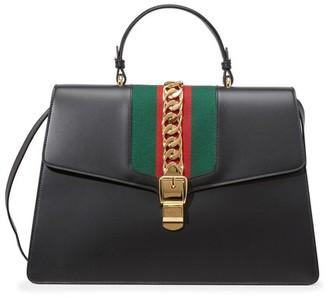Gucci Sylvie Leather Maxi Top-Handle Bag
