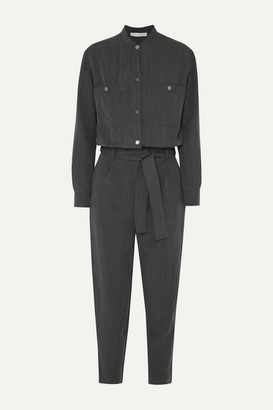 Vanessa Bruno Mali Cropped Belted Brushed-twill Jumpsuit - Dark gray
