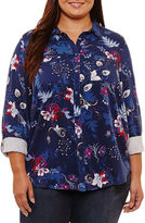 Liz Claiborne Long Sleeve Button-Front Shirt-Plus