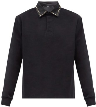 Valentino Rockstud Cotton-pique Long-sleeved Polo Shirt - Black