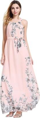 Daylin Newest Womens Large Size Daily Sleeveless Boho Ladies Floral Print Summer Long Maxi Holiday Dress (3XL