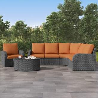 Costanzo 6 Piece Rattan Sectional Seating Group with Cushions Rosecliff Heights Cushion Color: Autumn Orange, Frame Color: Distressed Charcoal Gray