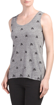 Linen Blend Scooter Embroidered Tank
