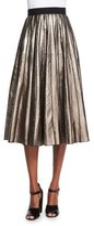 Marc Jacobs Pleated Metallic Leather Skirt