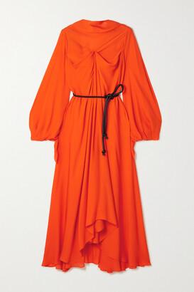 Roland Mouret Ivel Belted Draped Silk-georgette Midi Dress - Orange