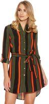 Quiz Khaki Black And Orange Crepe Stripe Shirt Dress