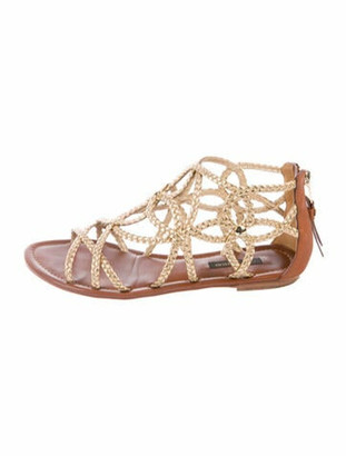 Louis Vuitton Leather Gladiator Sandals Gold