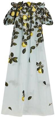 Oscar de la Renta Citrus Primavera Applique Off-The-Shoulder Gown