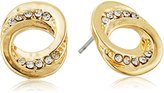 T Tahari Gold and Crystal Swirl Stud Earrings