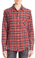R 13 Frayed Cotton Boy Plaid Shirt