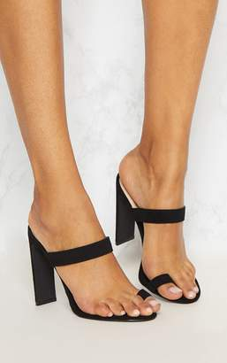 PrettyLittleThing Black Flat Heel Toe Loop Sandal