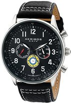 Akribos XXIV Men's AK751SSB Swiss Quartz Movement Watch with Black Matte Dial and Multicolored Sub dials with Black and White Stitching Leather Calfskin Strap