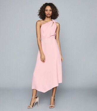 Reiss Delilah - One Shoulder Midi Dress in Pink