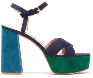 Gianvito Rossi Tri-colour 70 Suede Platform Sandals - Womens - Navy Multi
