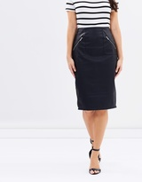 Zip Trim Midi Skirt