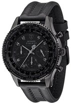 DETOMASO Men's Quartz Stainless Steel and Leather Casual Watch, Color:Black (Model: DT1068-C)