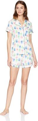 Mae Amazon Brand Women's Sleepwear Notch Collar Short Pajama Set