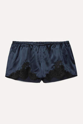 I.D. Sarrieri Hotel Particulier Chantilly Lace-trimmed Silk-blend Satin Pajama Shorts - Midnight blue