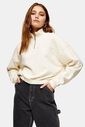 Levi's Womens Ecru 1/4 Zip Sweatshirt By Off White