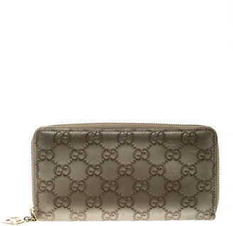 Gucci Gold Guccissima Leather Zip Around Wallet