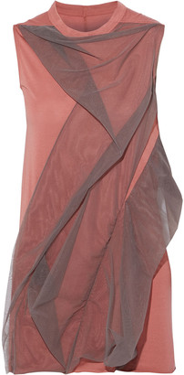 Rick Owens Lilies Draped Tulle-appliqued Jersey Top