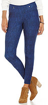 MICHAEL Michael Kors Classic Washed Denim Print Stretch Twill Knit Leggings
