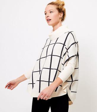 LOFT Windowpane Cowl Neck Poncho Sweater