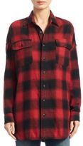 R 13 Oversized Plaid Cotton Button-Down Shirt