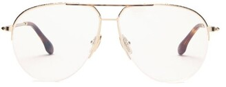 Victoria Beckham Aviator Hammered-metal Glasses - Gold