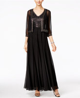 J Kara Beaded V-Neck Gown and Jacket
