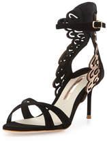 Sophia Webster Micah Metallic Angel-Wing Sandal, Black/Rose-Golden