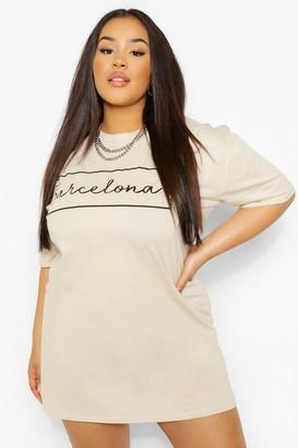 boohoo Plus 'Barcelona' Oversized T-shirt Dress