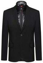 HUGO BOSS - Slim Fit Jacket With Zip Through Padded Vest - Black