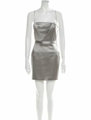 Peter Soronen Square Neckline Mini Dress Silver