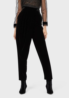Emporio Armani Washed Velvet Trousers With Draped Panel