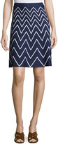 Pink Tartan Stretch-Knit Chevron Skirt, Blue/White