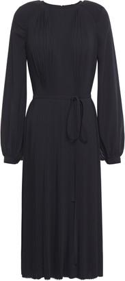Nina Ricci Belted Paneled Pleated Hammered-crepe Dress