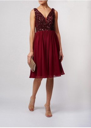 Mascara London Flickering Sequin Top Soft Flowing Chiffon Knee Length Dress