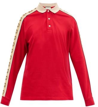 Gucci Logo Stripe Cotton Pique Polo Shirt - Red