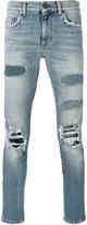 Saint Laurent distressed straight-leg jeans - men - Cotton/Polyurethane - 31