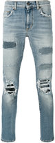 Saint Laurent distressed straight-leg jeans - men - Cotton/Polyurethane - 34
