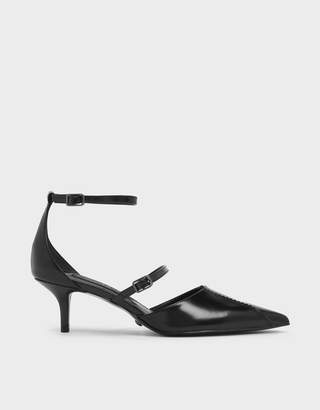 Charles & Keith Zigzag Detail Leather Mary Jane Kitten Heels
