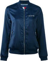 Tommy Jeans embroidered panelled bomber jacket - women - Polyester/Spandex/Elastane - S