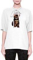 Dolce & Gabbana Short-Sleeve Tie-Neck Blouse, White