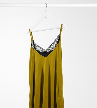 Simply Be lace trim cami in green
